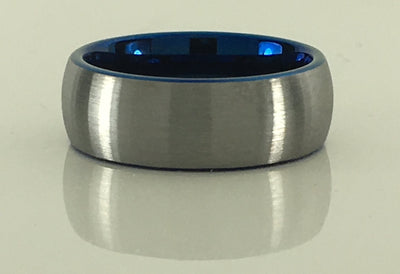 Brushed Domed Tungsten Ring with Blue Interior