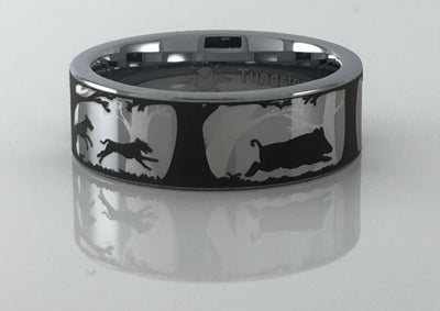 Tungsten Carbide Hogs and Dogs Ring