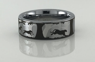 Tungsten Carbide Dogs and Cougar Ring