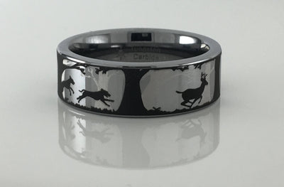 Deer and Dogs Tungsten Carbide Ring