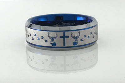 Tungsten Buck Cross Buck ring