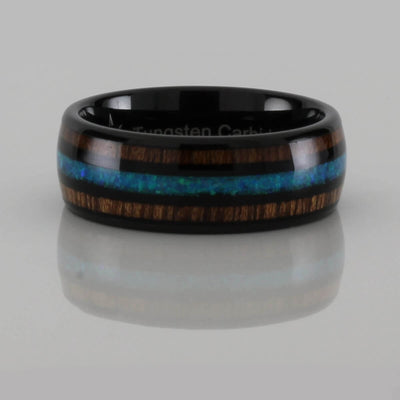 Wood with Opal Pattern Tungsten Ring