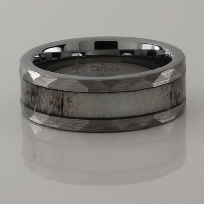 Hammered Antler Inlay Tungsten Ring