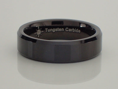 6mm Tungsten Carbide Beveled Ring