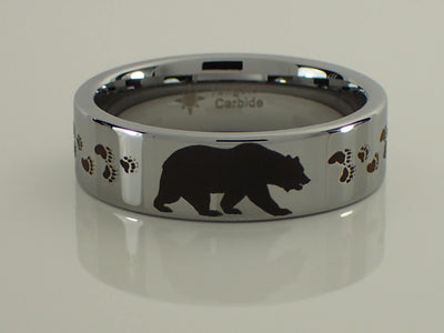 Tungsten Carbide Bear and Tracks Ring
