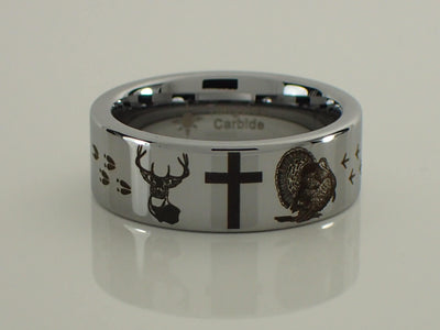 Tungsten Carbide Deer Cross Turkey Ring