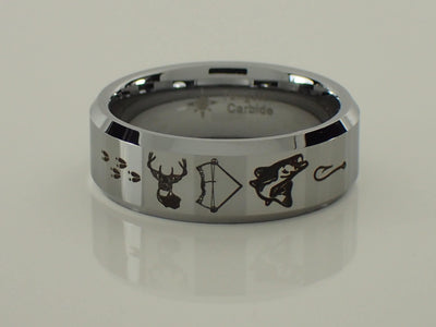 Tungsten Carbide Deer Bow Fish Ring