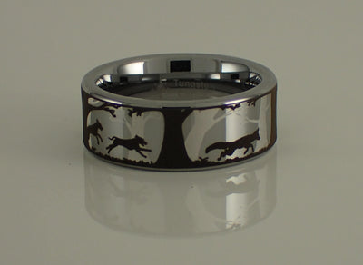 Fox and Dogs Tungsten Carbide Ring