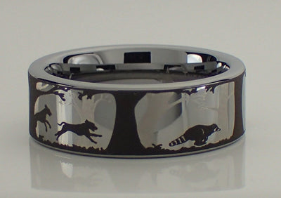 Dogs and Raccoon Tungsten Carbide Ring