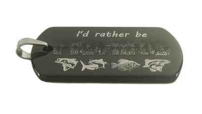 I'd Rather Be Fishing Tungsten Dog Tag Necklace