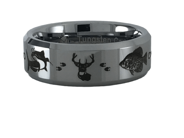 Tungsten Carbide Catfish Deer Crappie Ring
