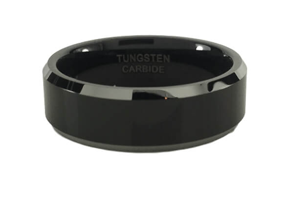 Black with Silver Bevel Tungsten Ring