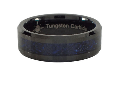 Black and Blue Tungsten Carbide Ring