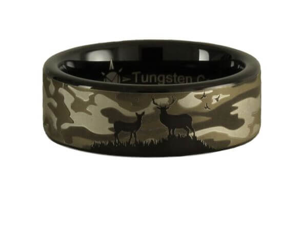 Tungsten Deer scene Camouflage Ring