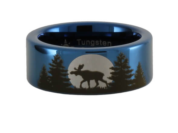 Tungsten Moose Forest Moon Ring