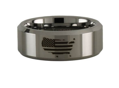 Tungsten Carbide American Flag Ring