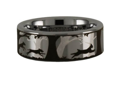Dogs and Bobcat Tungsten Carbide Ring