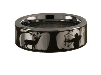 Tungsten Carbide Bowhunting Scene Ring