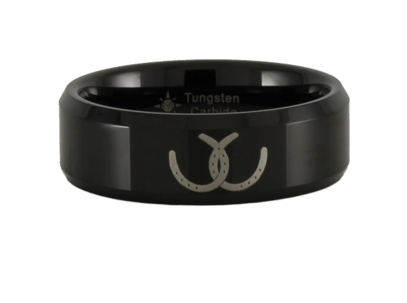 Crossed Horseshoes Tungsten Ring