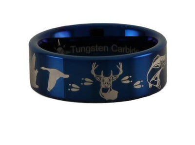 Geese Deer Walleye Tungsten Ring