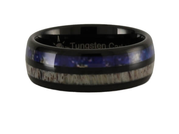 Antler with Lapis Lazuli Pattern Tungsten Ring