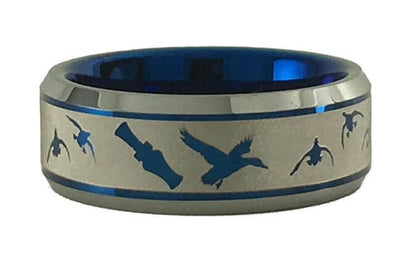 Ducks Landing with Duck Call Tungsten Ring