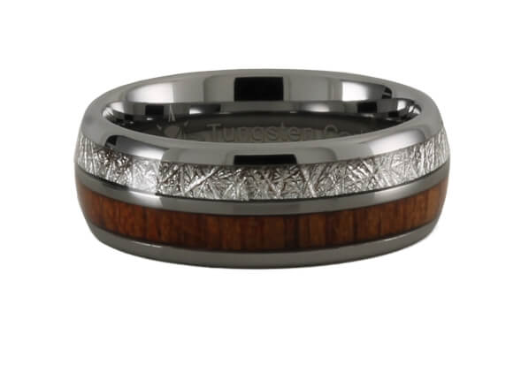 Wood with Meteorite Pattern Tungsten Ring