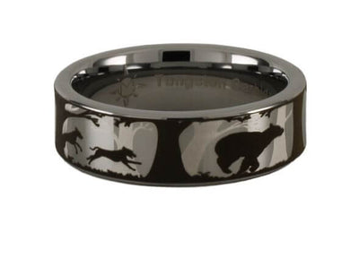 Dogs and Bear Tungsten Carbide Ring