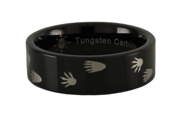 Tungsten Carbide Raccoon Tracks Ring