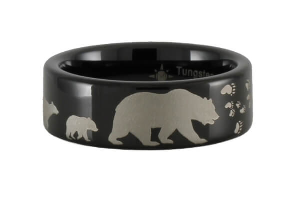 Tungsten Bear and Cubs Ring