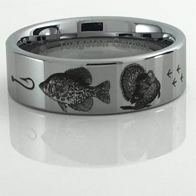 Crappie fish and Turkey Tungsten Ring