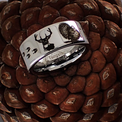 Deer and Turkey Tungsten Ring
