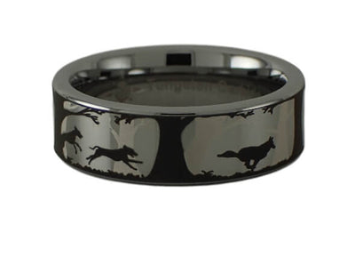 Dogs and Coyote Tungsten Carbide Ring