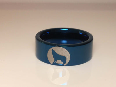 Tungsten Carbide Wolf Howling Moon Ring