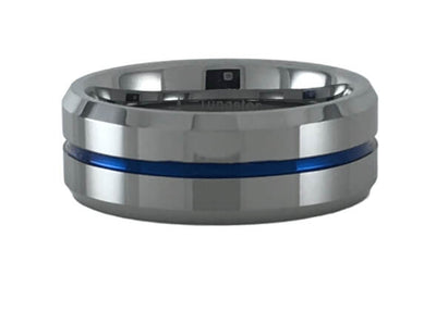 Beveled Edges Blue Grooved Center Tungsten Carbide Ring
