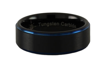 Tungsten Carbide Blue Step Ring.
