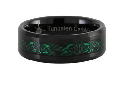 Black and Green Tungsten Carbide Ring