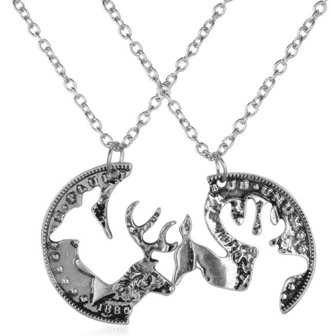 Buck and Doe interlocking pendant necklaces