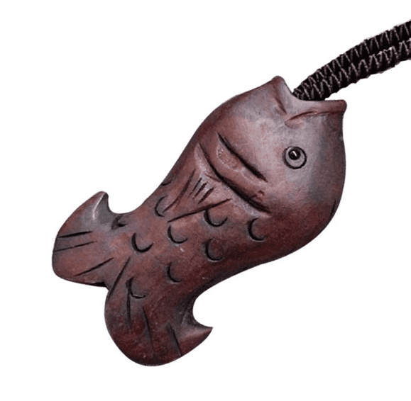 Wooden Fish Pendant Necklace