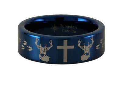 Buck Cross Buck Tungsten Pipe Style Ring