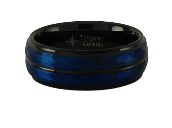 Black with Blue Dual Plated Hammered Tungsten Ring
