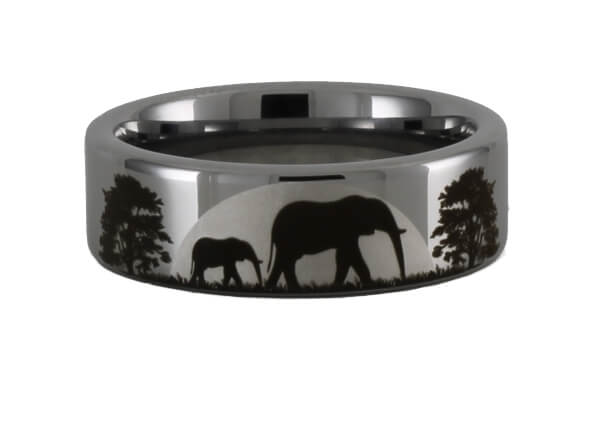 Tungsten Elephant Scene Ring