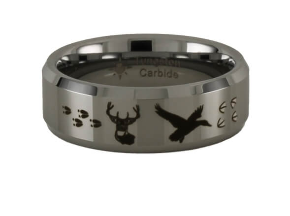 Deer and Duck Tungsten Ring