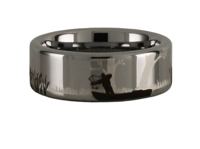 Tungsten Carbide Bowfishing Scene Ring