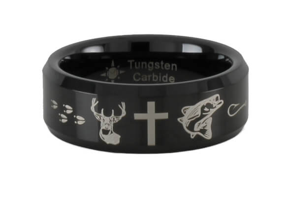 Tungsten Carbide Deer Cross Fish Ring