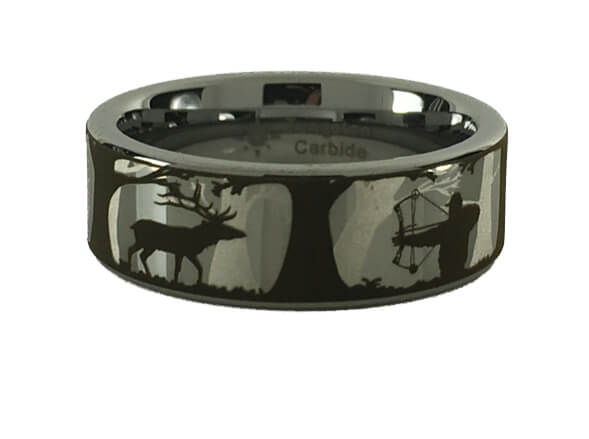 Tungsten Elk Bowhunting Scene Ring