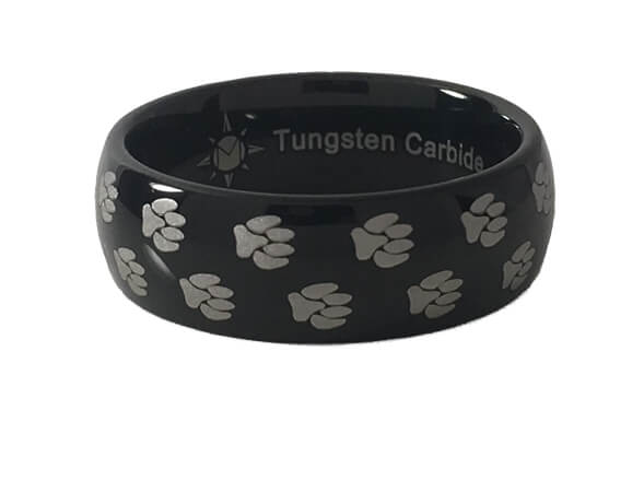Paw Print Tungsten Dome Ring
