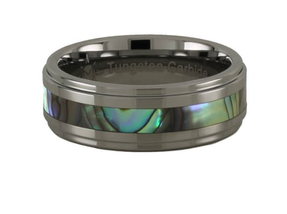 Abalone Design Tungsten Carbide Step Ring