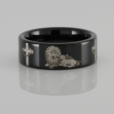 Lion and the Lamb Tungsten Ring