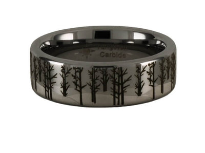 Tungsten Winter Trees Scene Ring